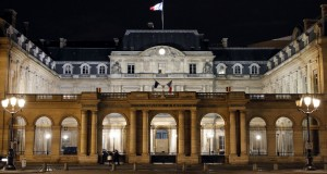 """A picture shows the """"Conseil d'Etat"""" on the Place du Palais Royal by night on February 6, 2014 in Paris. AFP PHOTO / LUDOVIC MARIN"""
